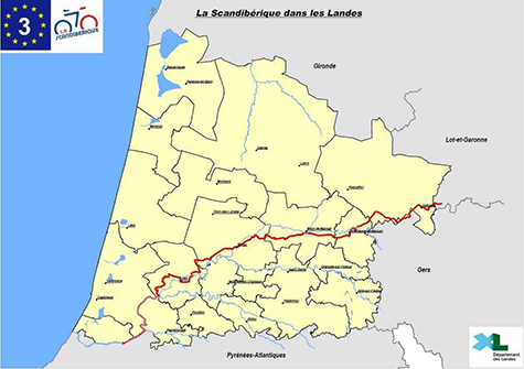 Carte de La Scandibérique en Aquitaine