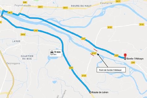 Déviation fermeture temporaire pont de Sorde-l&aposAbbaye