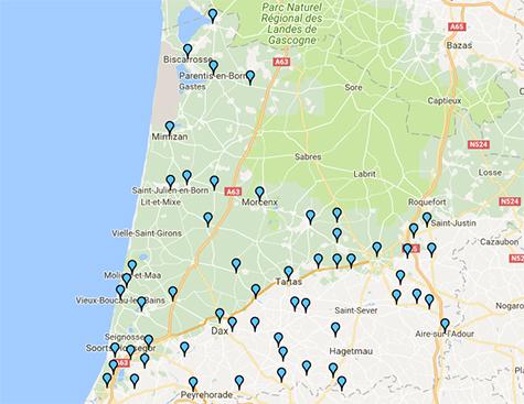 Consultez la cartographie Itinéraires dans les Landes 2017