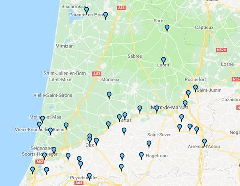 Consultez la cartographie Itinéraires dans les Landes 2018