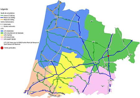 Carte de l'itinéraire précis de transp.excep dans les Lande