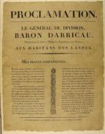 Proclamation du general Darricau © imprimerie Delaroy