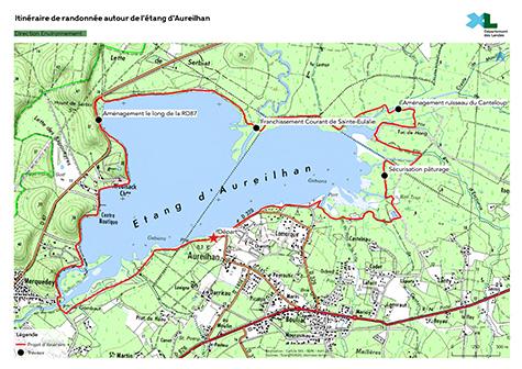 Carte de l&apositinéraire de randonnée autour de l&aposétang d&aposAureilhan